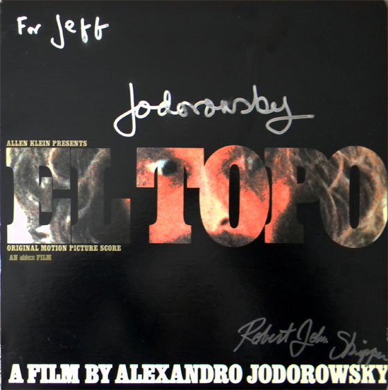 Apple Records LP signed by Jodorowsky and actor Robert John Skipper (El Topo's son).