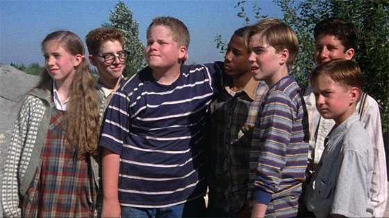 The Losers Club: Beverly (Emily Perkins), Richie (Seth Green), Ben (Brandon Crane), Mike (Marlon Taylor), Bill (Jonathan Brandis), Stan (Ben Heller), and Eddie (Adam Faraizl).