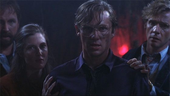 John Ritter, Annette O'Toole, Richard Thomas, and Dennis Christopher descend into the sewers to face It.