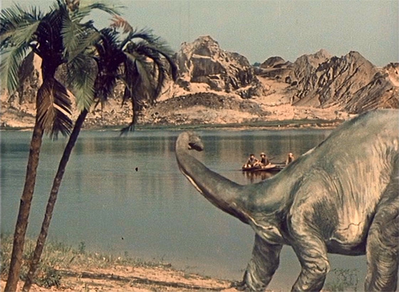 A brontosaurus observes the time-traveling boys.
