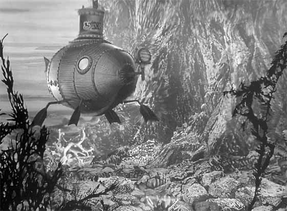 A flipper-propelled submarine conducts an undersea search.