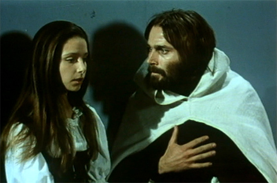 "Ambrosio (Franco Nero) becomes obsessed with young Antonia (Eliana De Santis) in ""The Monk."""