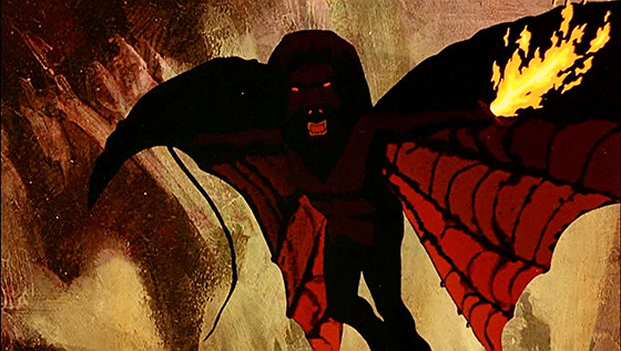 The Balrog confronts Gandalf in the Mines of Moria.