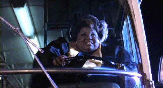A gospel singer commandeers a bus to take revenge on a greaser.