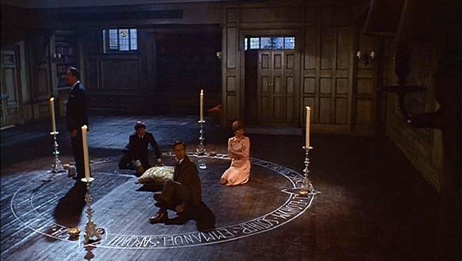 Spending a long night under the protection of a magic circle: Lee, Mower, Paul Eddington and Sarah Lawson.