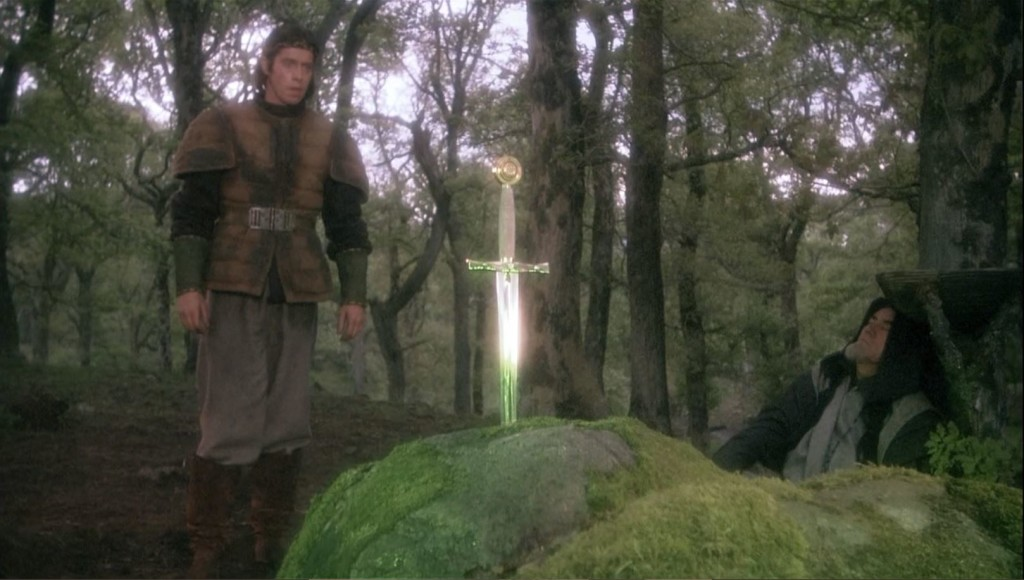 Young Arthur (Nigel Terry) discovers the Sword in the Stone.