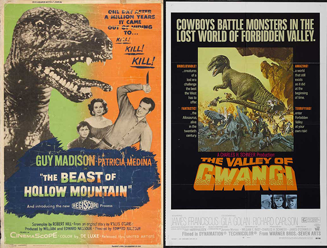 Beast of Hollow Mountain and The Valley of Gwangi posters