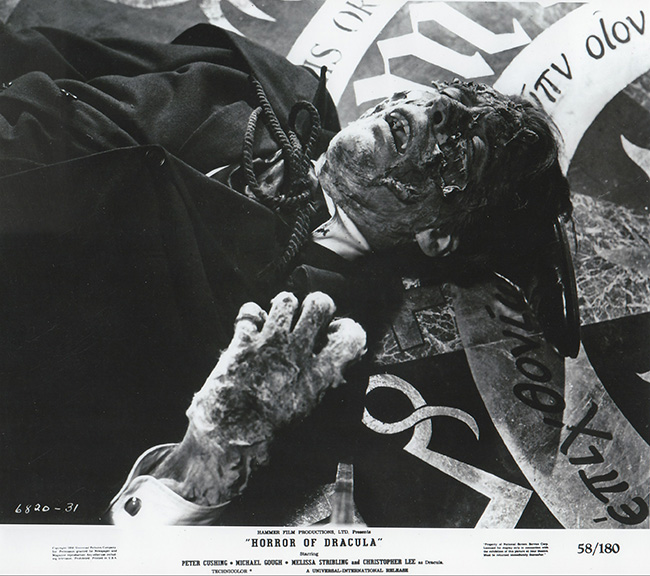 Publicity still showing the disintegration of Dracula (Christopher Lee).