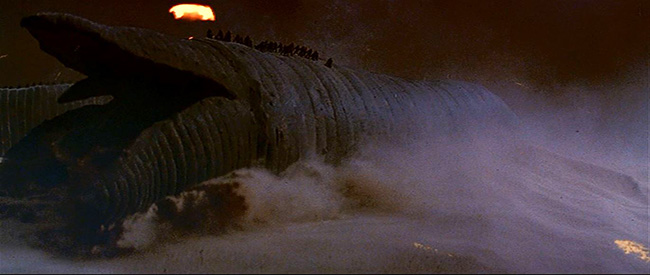 The Fremen ride sand worms in the climactic siege.