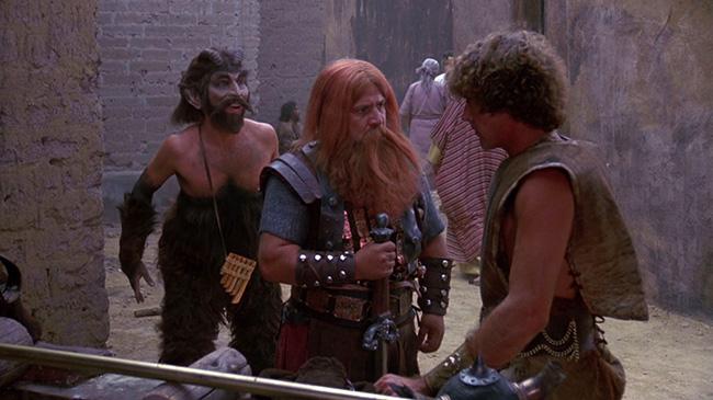 Half-man, half-goat Pando (David Millbern), Valdar (Bruno Rey), and Erlick (Roberto Nelson), allies of the barbarian twins.