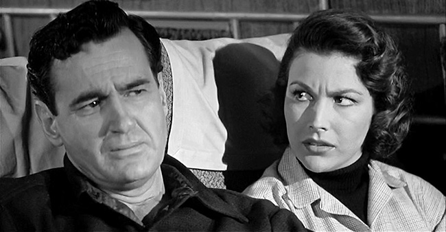 Mitch MacAfee (Jeff Morrow) and Sally Caldwell (Mara Corday) ponder the threat of The Giant Claw.