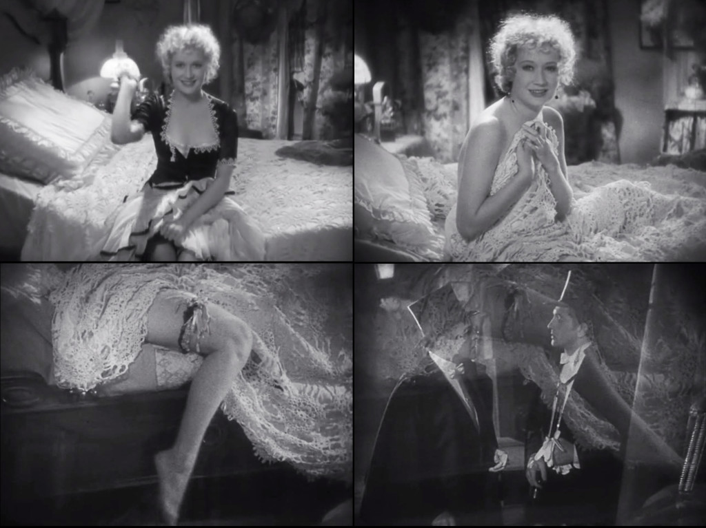 (Top Row) Subjective shots of Ivy, as she throws her garter and poses in bed; (Bottom Row) The pendulum swing of her leg lingers in the dissolve to Jekyll and Lanyon (Holmes Herbert), just as it lingers in Jekyll's thoughts.