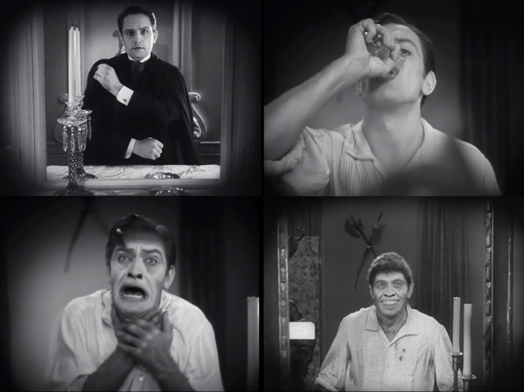 Dr. Jekyll (Fredric March) prepares for his lecture; later, Jekyll drinks his formula before the mirror, with a second glass lifted to the camera in the foreground; colored filters are rotated to expose transformation makeup before the viewer's eyes; an edit after additional makeup has been applied reveals the newborn Mr. Hyde.