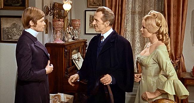 Karl (Simon Ward), Baron Frankenstein (Cushing), and Anna (Veronica Carlson).