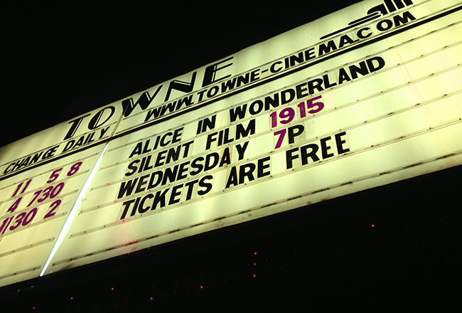 Marquee for the Dec. 30th screening at the Towne Cinema in Watertown, Wisconsin.