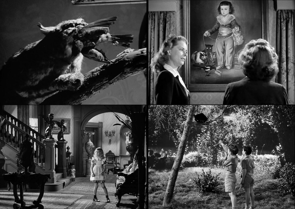 "The cats of ""The Curse of the Cat People"" (clockwise from upper-left): A stuffed cat with a bird in its jaws; ""Irena's favorite painting,"" Goya's ""Manuel Osorio Manrique de Zúñiga,"" with its lusting cats; two boys pretend to machine-gun a black cat off a branch; Amy is watched by two sphinxes on the bannisters."