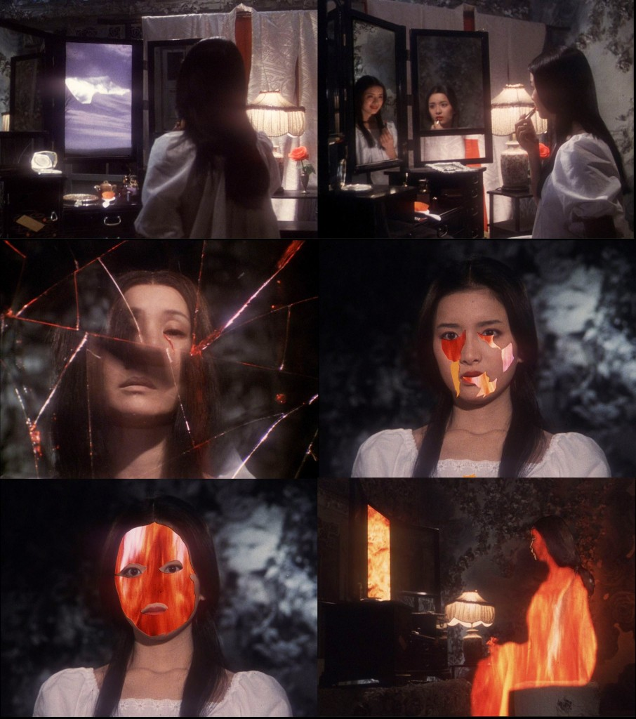 Gorgeous (Kimiko Ikegami) is consumed by the mirror.