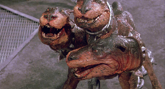 The stop-motion animated Cerberus, guarding the River Styx.