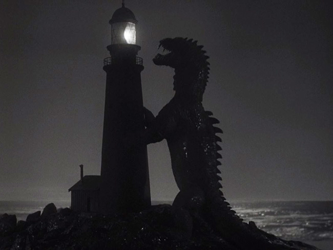 The Rhedosaurus assaults a lighthouse.