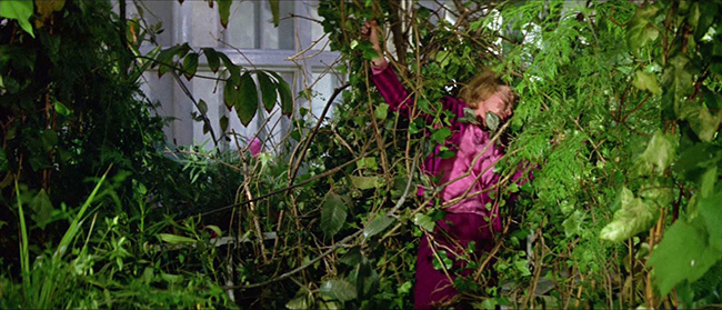 Susan Witley (Suzan Farmer) is attacked by vegetation in her father's greenhouse.