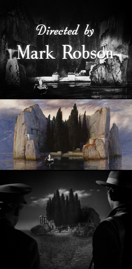 Three Isles of the Dead: the film's opening credits; one of the original 19th century paintings by Arnold Böcklin; Boris Karloff and Marc Cramer ride a boat to the island in a scene from the film.