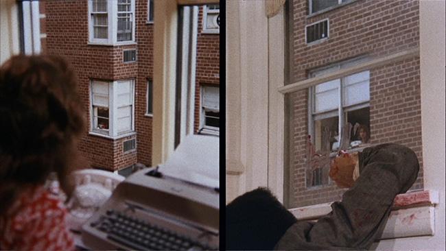 Grace (Jennifer Salt) witnesses the murder of Phillip from the neighboring building, in a dynamic use of split-screen.
