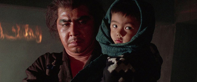 "At one point in ""Lone Wolf and Cub: Baby Cart at the River Styx,"" the assassin and his son Daigoro (Akihiro Tomikawa) find themselves trapped in the hold of a burning ship."