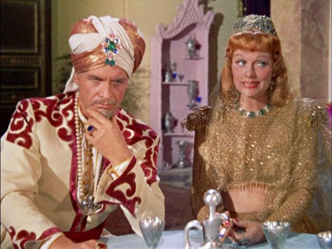 Caliph Ali (Gregory Gaye) and his sister, Princess Narah (Lucille Ball).