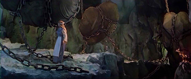 Annikki (Eve Kivi) discovers the weather chained up in Louhi's mountain.
